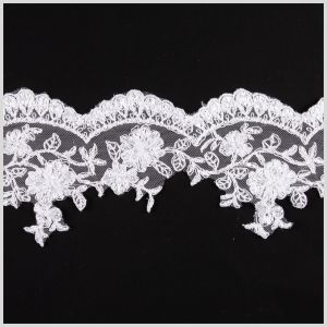 4.25 White/Silver Bridal Beaded Lace