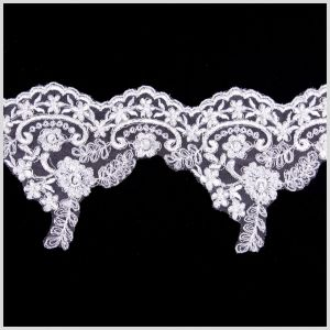 5.5 White/Silver Bridal Beaded Lace
