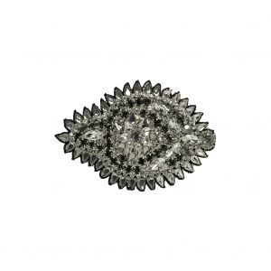 Silver and Gray Abstract Beaded Rhinestone Applique - 4.375