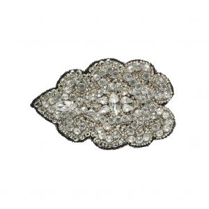 Crystal and Gray Abstract Beaded Rhinestone Applique - 3.5