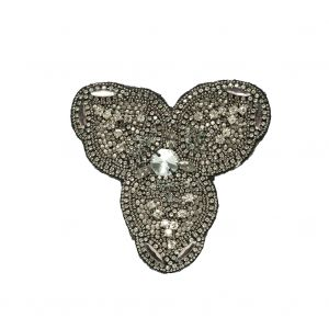 Gunmetal and Crystal Abstract Beaded Rhinestone Applique - 4.375