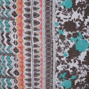 Arcadia Green and Brown Floral Cotton Voile with a Border Print