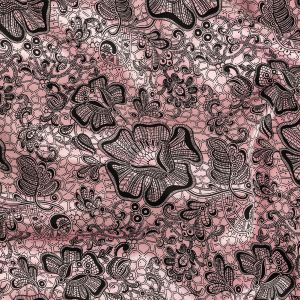 Pink and Black Floral Lace Printed Stretch Polyester and Cotton Satin
