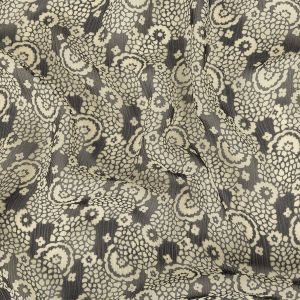 Famous NYC Designer Pewter and Bone White Abstracted Floral Crinkled Silk Chiffon