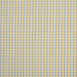 Lemon Yellow and Blue Checked Handwoven Cotton