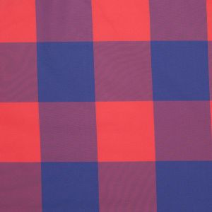 Famous Designer Red/Blue Big Checked Polyester Taffeta