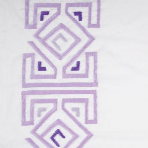 Lupine Purple and White Embroidered Panel Cotton Voile