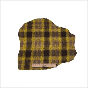 Medium Green/Brown/Black Plaid and Patterned Bonded Lamb Leather and Wool
