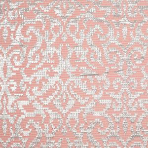 Metallic Silver and Pink Polyester Brocade