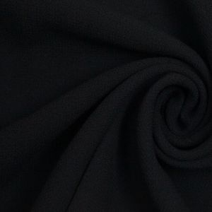 Black Wool-Polyester Crepe Double Cloth