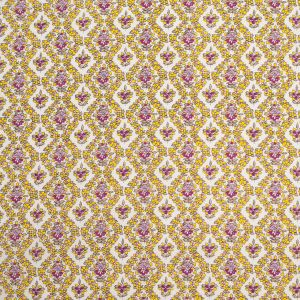 Yellow/Pink Floral Printed Cotton Voile