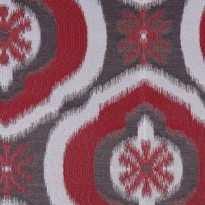 Red Ikat Damask Polyester Woven