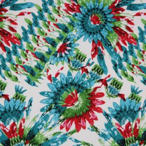Teal/Green/Red Feather Printed Stretch Cotton Twill