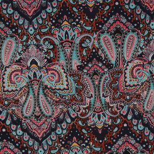Pale Aqua/ Clay Brown Paisley Printed Corded Cotton Sateen
