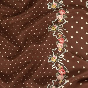 Brown and White Polka Dots Silk Crepe de Chine with Floral Ribbon Border
