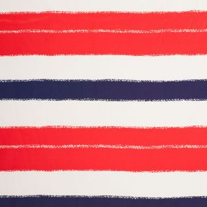 Tanya Taylor Red/White/Blue Striped SIlk Crepe de Chine