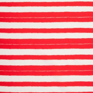 Tanya Taylor Poppy Red/Off-White Striped SIlk Crepe de Chine