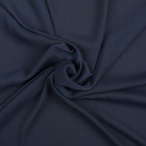 Perfect Navy Stretch Crinkled Polyester Chiffon