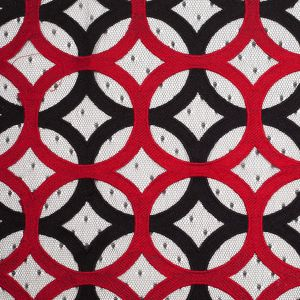 Black and Red Circular Geometric Nylon Lace with Netting