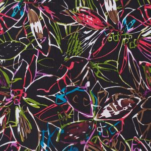 Black/Multicolor Abstract Floral Crinkled Silk Chiffon