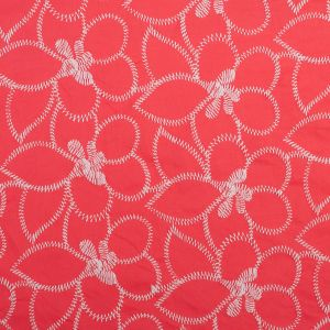 Hot Coral/White Floral Embroidered Cotton