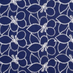 Navy/White Floral Embroidered Cotton