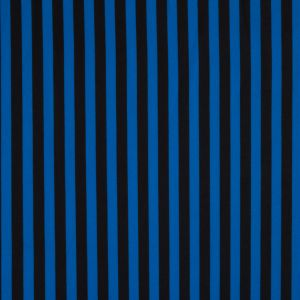 Princess Blue and Black Bengal Striped Printed Polyester Woven