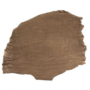 Small Brown Quilted Lamb Hide w/ Black Knit Backing