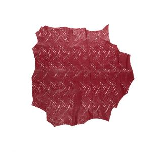 Small Brick Red Abstract Perforated Lamb Leather