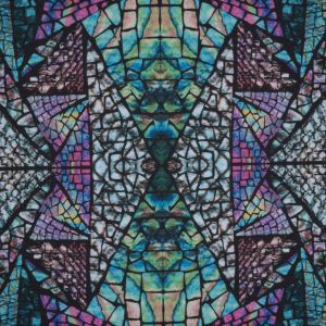 Green Stained Glass Digitally Printed Tricot Jersey