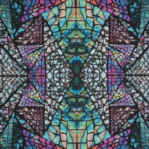Green Stained Glass Digitally Printed Stretch Neoprene/Scuba Knit