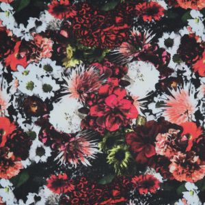 Red/Green Collaged Floral Digitally Printed Stretch Neoprene/Scuba Knit