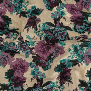 Bayberry, Italian Plum and Metallic Pale Gold Floral Polyester Brocade