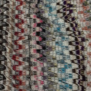 Italian Purple, Brown and White Multicolor Soft Flamestitch Wool Knit