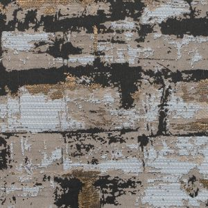 Beige and Gold Abstract Metallic Jacquard