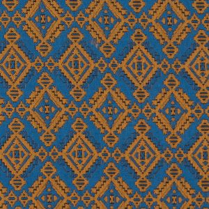 Mustard and Air Force Blue Geometric Brocade