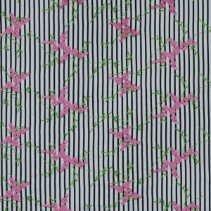 Black/White Striped Floral Embroidered Cotton Woven