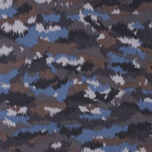 Blue/Brown Abstract Printed Polyester Chiffon