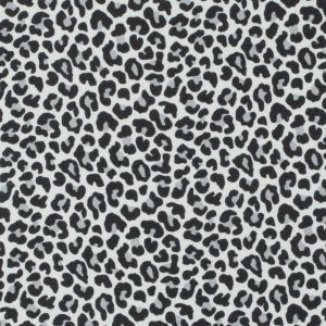 White/Black Leopard Printed Stretch Polyester Crepe
