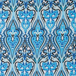 Blue Atoll/Dazzling Blue/White Abstract Stretch Cotton Sateen