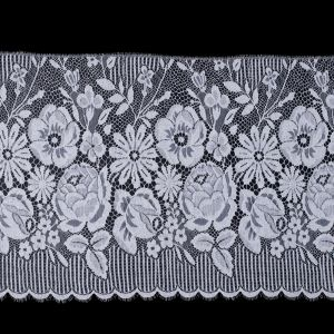 White Fine Floral French Lace Trimming - 14