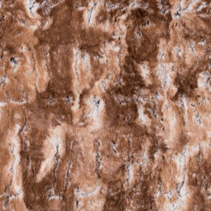 Beige and White Printed and Embossed Stretch Faux Fur