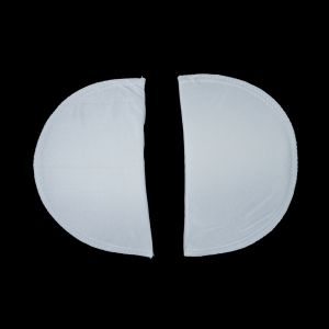 Foam Shoulder Pads Covered with White Polyester - 7 x 4.5 x .5