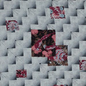 Famous NYC Designer Cloud Cream and Castle Rock Printed Silk Woven