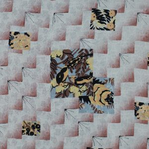 Famous NYC Designer Cloud Cream and Brick Dust Printed Silk Woven
