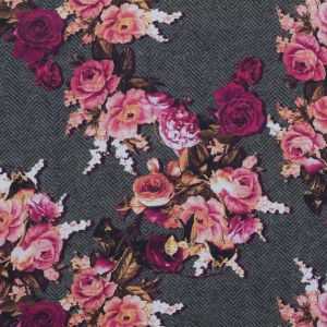 Pink and Gray Floral and Herringbone Printed Cotton Woven