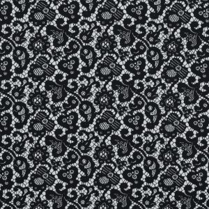 Black and White Floral and Paisley Lace Printed Cotton Shirting