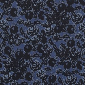 Black and Astral Aura Abstract Roses and Solid Beige Double Faced Stretch Polyester Crepe