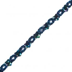 Blue & Purple Sequined and Beaded Trim - 0.75