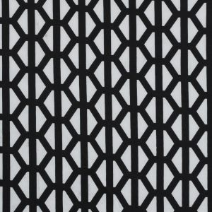 Black and Glacier Gray Geometric Printed Stretch Double Knit